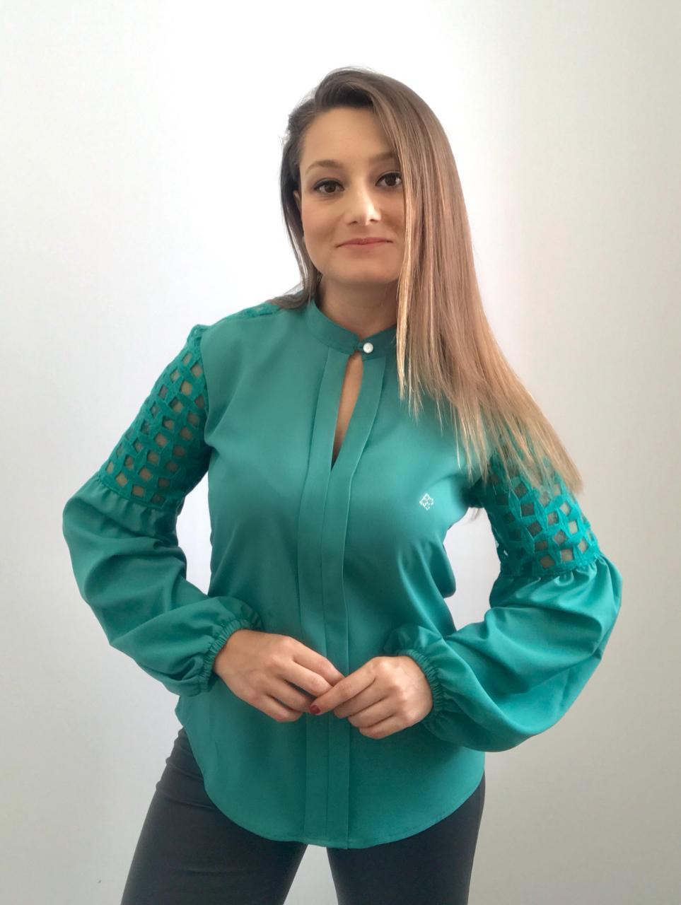 BLUSA FEMININA VERDE MANGA BUFANTE