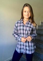 CAMISA FEMININA XADREZ CINZA MANGA LONGA